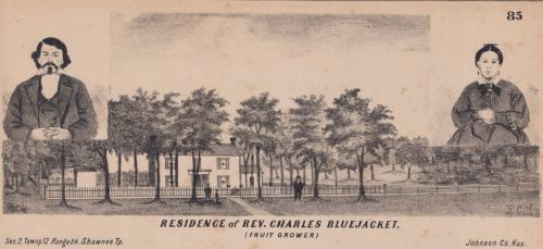 Charles Bluejacket, an assimilationist Shawnee leader, owned an extensive property, including an orchard. From the 1874 Atlas Map of Johnson County, Johnson County Museum.