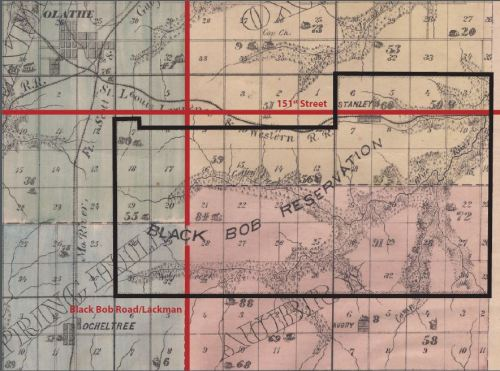 Map showing the 33,000 acres belonging to the Black Bob Band, with a modern street overlay. Map from the 1874 Atlas Map of Johnson County, Johnson County Museum.