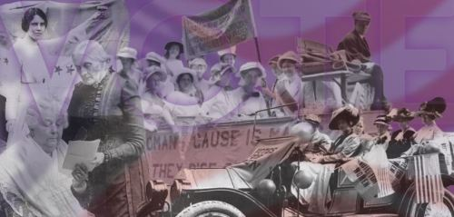 "A mural graphic for the ""Women and the Vote"" digital exhibit at the Johnson County Museum. Original, historic images from Kansas Historical Society and Library of Congress are included."