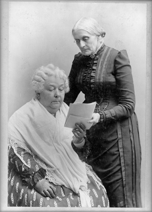 Two of the national leaders for women's suffrage: Susan B. Anthony, standing, and Elizabeth Cady Stanton, c. 1900.
