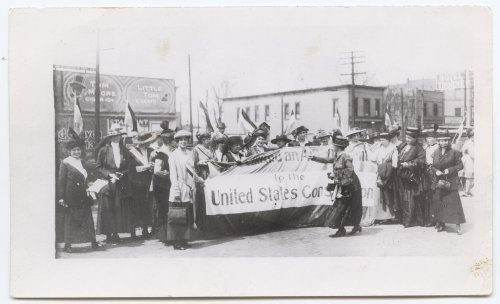 Delegates from the Kansas Equal Suffrage Association to the national suffrage effort, assembled in Topeka, Kansas, in 1916. This group led the charge to successfully pass women's suffrage in Kansas in 1912. Courtesy Kansas Historical Society.