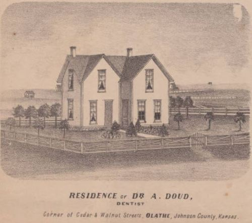 Olathe residence of dentist, Dr. Doud. 1874 Atlas Map of Johnson County, Kansas, Johnson County Museum collection.