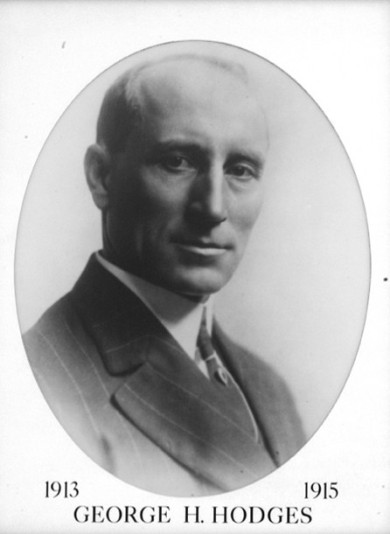Black and white gubernatorial portrait of George H. Hodges with his name and the dates 1913 1915 at the bottom of the image
