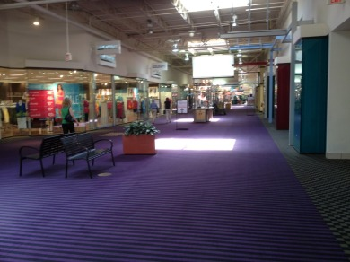 A mall hallway with purple carpet and seating and planters down the center.
