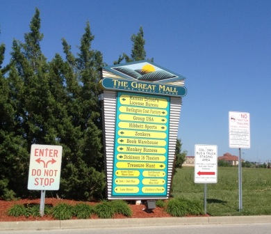 A parking lot directory for the Great Mall of the Great Plains