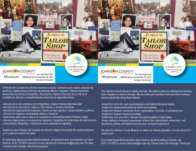 Bilingual flier created to help promote the Latino Collecting Initiative, launched in 2018.