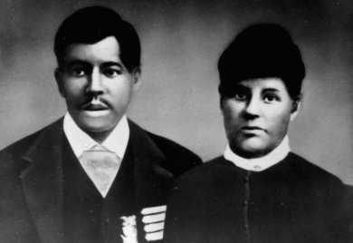 Harrison and Nellie Jackson McCallop, possibly in 1875. Harrison wears military medals on his chest.