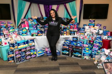 Jessica McCallop-McClellan. In addition to scholarships, Jessica supports domestic violence survivors, provides essential resources to end period poverty (pictured), and inspires cancer patients.