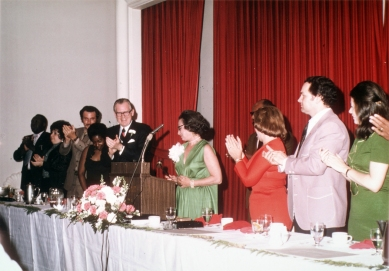 Ruth Shechter, in green at center, with others at the National Association of Human Rights Workers meeting in 1974. The photograph shows the moment Shechter became the first woman president of the organization.