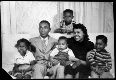 Photograph of Joe and Mary Person and their family, taken around 1948 or '49.