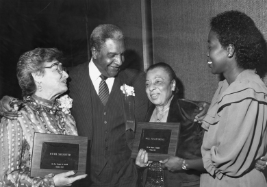 In 1982, the National Association of Human Rights Workers honored Ruth Shechter for her lifetime of work. She is shown here with other honorees.