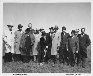 John Barkley, third from left, at the 1959 groundbreaking for the E.R. Squibb building, located near the cloverleaf at Shawnee Mission Parkway and Metcalf Avenue.
