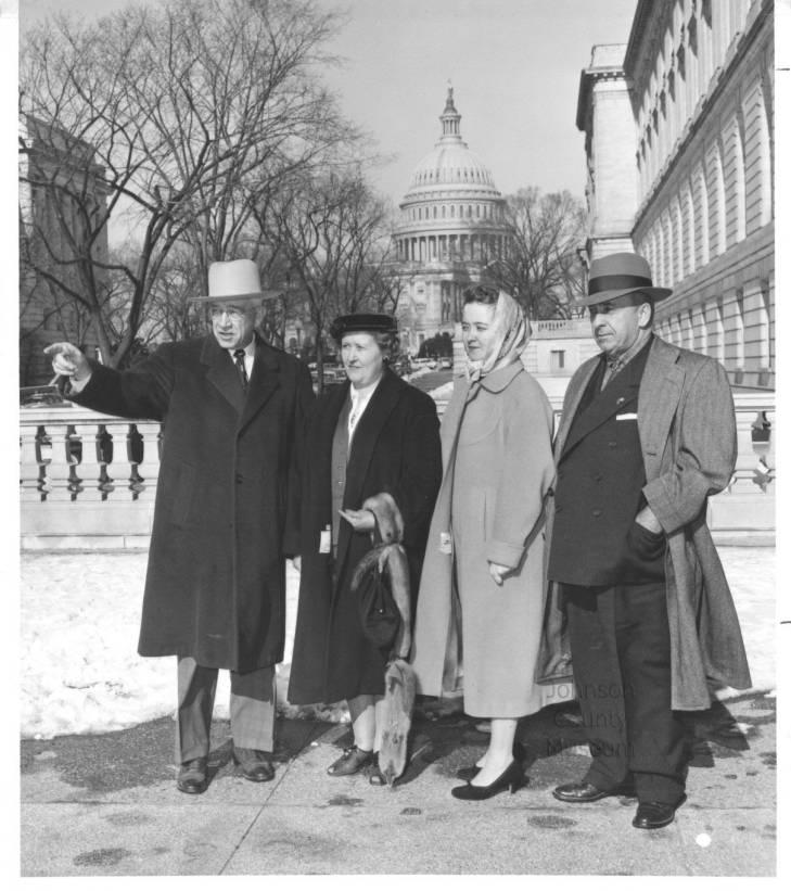 The Barkleys in Washington, D.C., in 1952. Left to right: Kansas Senator Errett Scrivner, Marguerite Barkley, Joan Barkley Wells, and John Barkley.