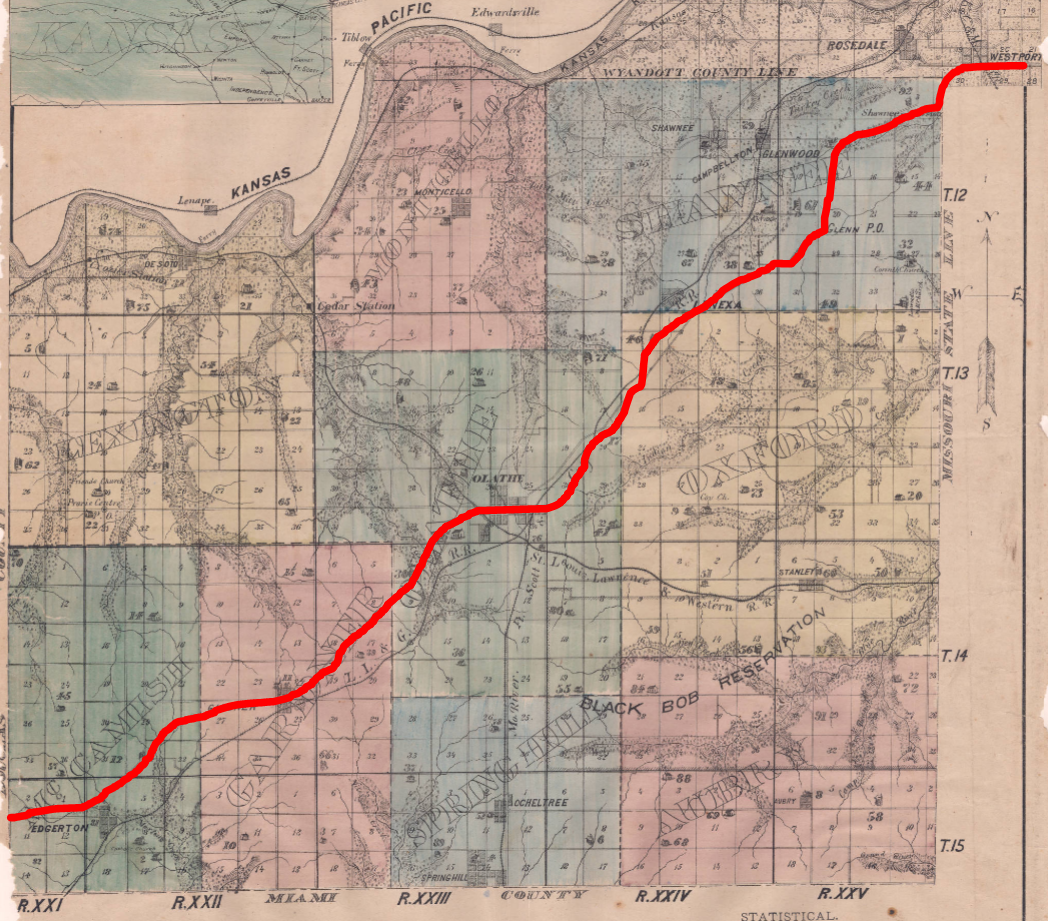 This 1874 Atlas Map of Johnson County, Kansas shows a rough approximation of the old Santa Fe Trail route across the county.