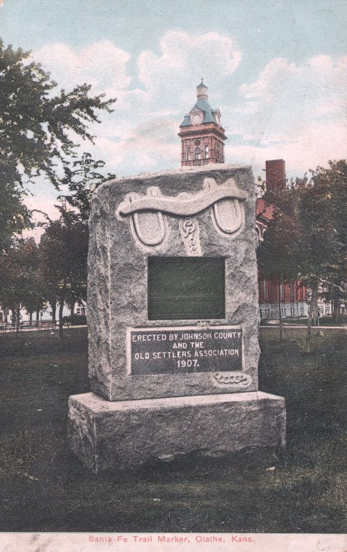 This Santa Fe Trail marker on the grounds of the 1893 Johnson County Courthouse was placed by the Old Settler's group. It was common for local organizations to fundraise and place markers in conjunction with DAR's efforts.